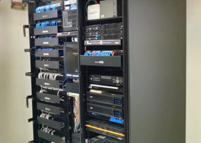 Network data racks for data and telephone cabling. Cables are neatly installed, tied, and labeled.